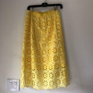 Yellow crochet Anthropologie skirt